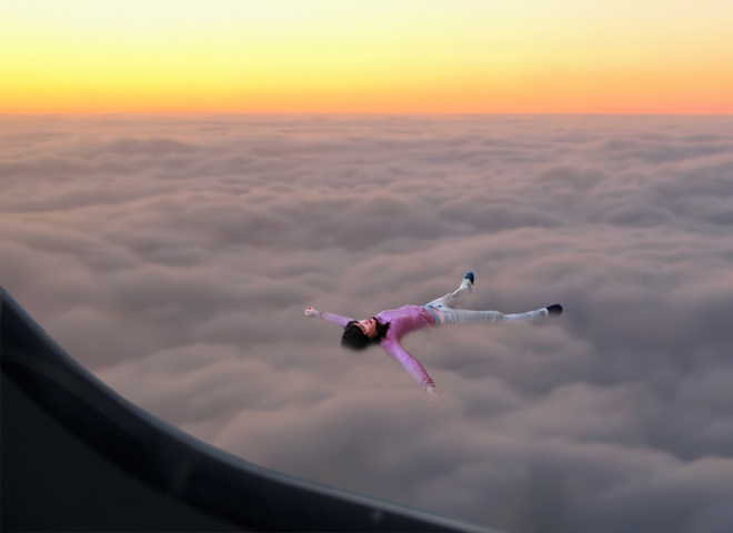 Floating on your back in the clouds